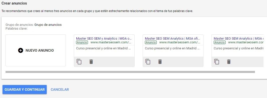 3 anuncios campaña google adwords