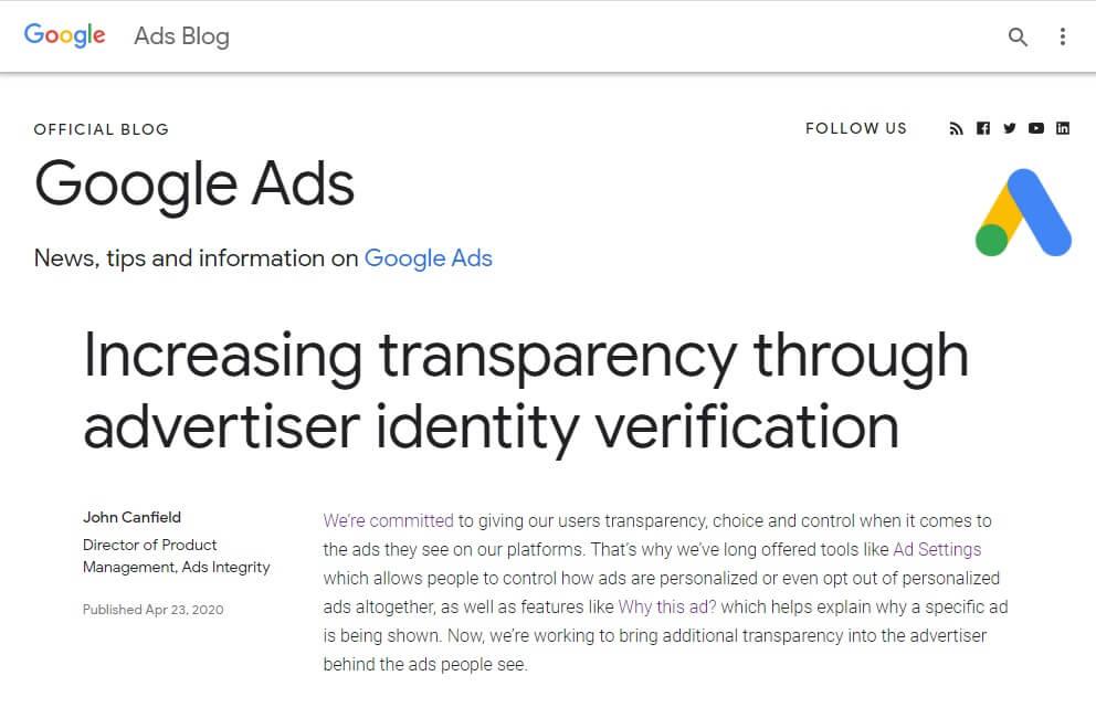 Google verifica la identidad de sus anunciantes
