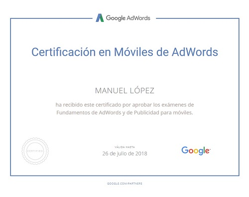 Google Adwords Mobile Certificate