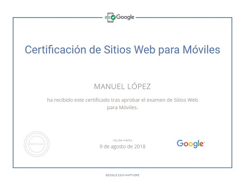 Google mobile Certificate