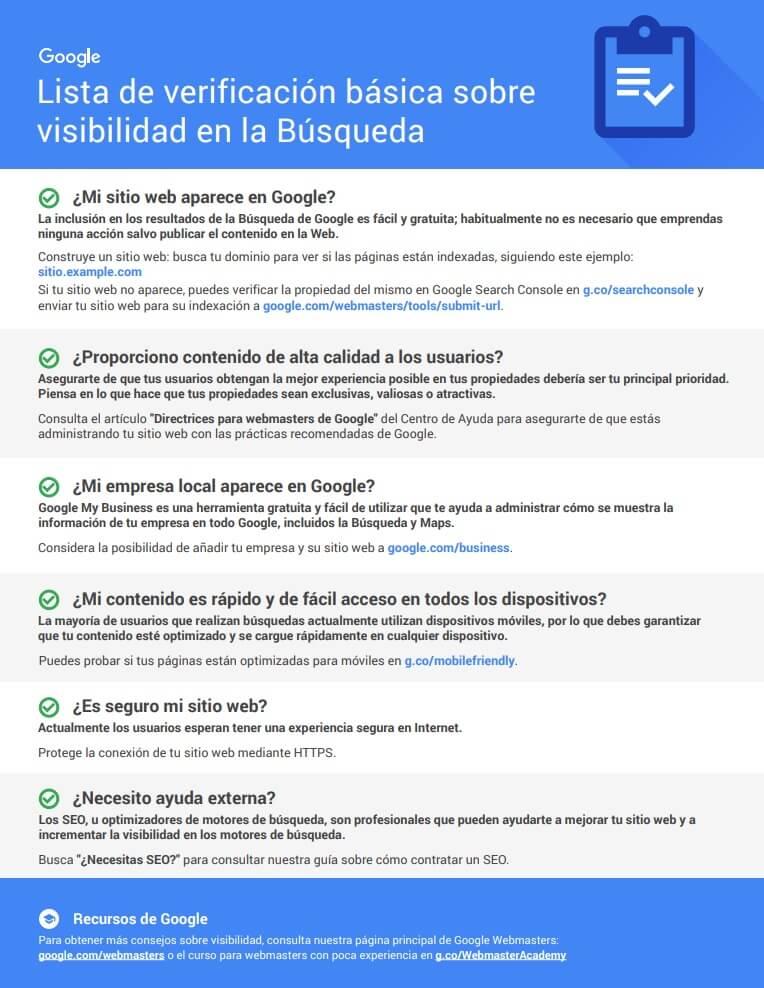 Lista basica de visibilidad en la busqueda de Google