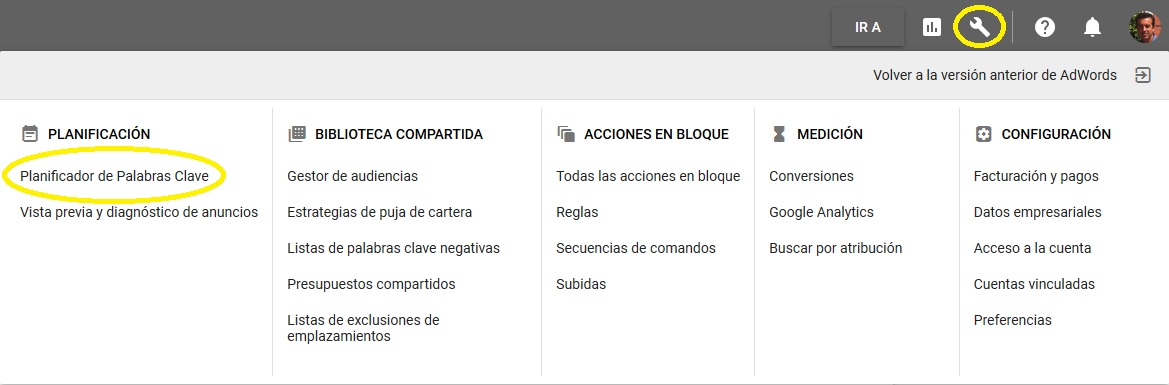 acceso keyword planner