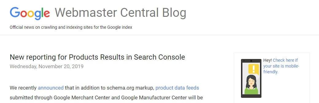 anuncio nuevos informes de resultados de productos en search console