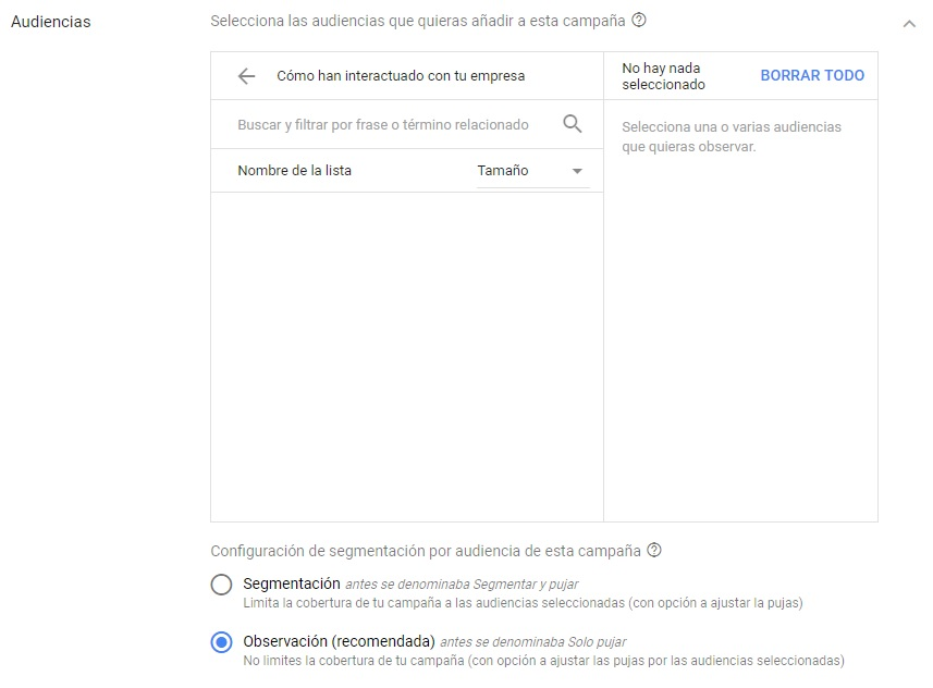 audiencias campaña google adwords