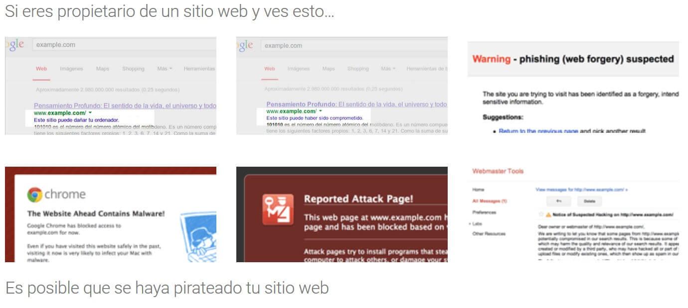 avisos de web con problemas de seguridad
