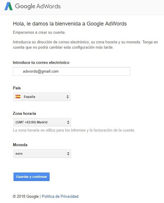 bienvenida google adwords datos