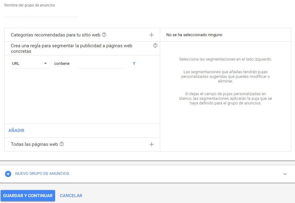 categorias anuncios dinamicos campaña google adwords