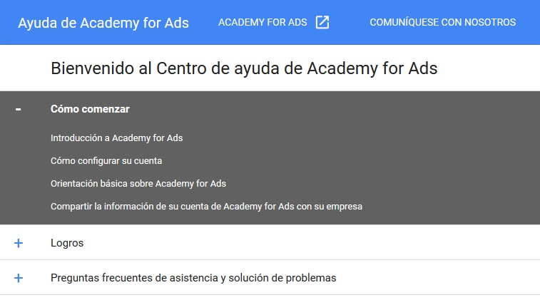centro de ayuda de academy for ads