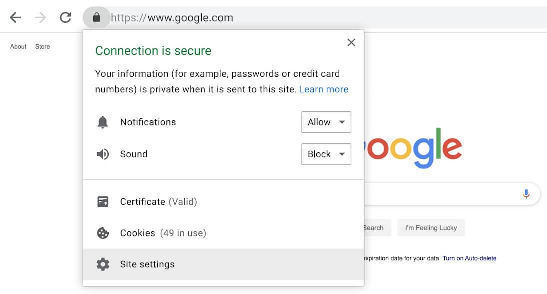 conexión segura google chrome
