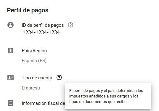 configuracion de facturacion perfil de pagos