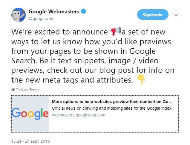 controlar vista previa fragmentos destacados google