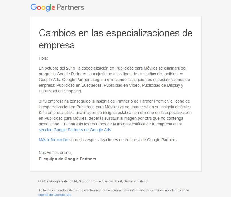google partners elimina especializacion publicidad para moviles