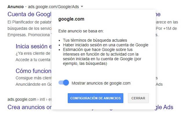 google por qué este anuncio: mostrar