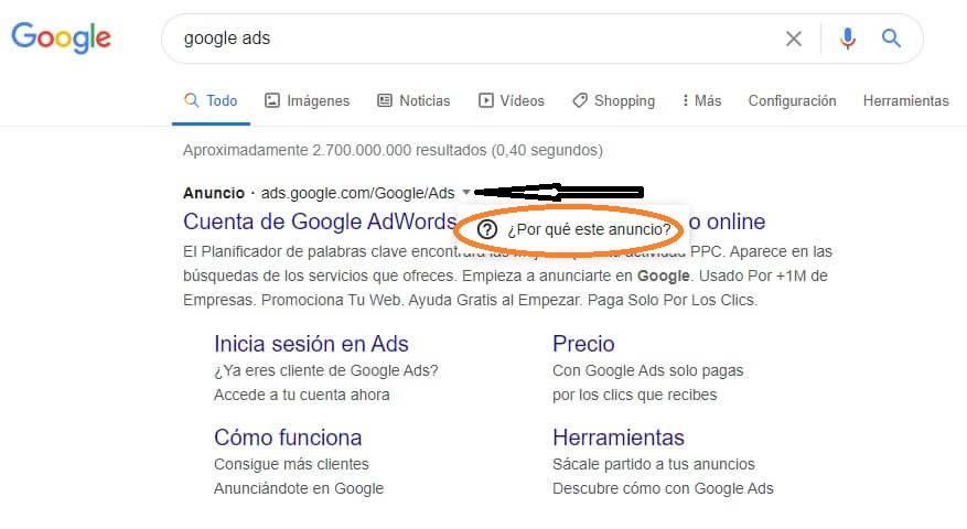google por qué este anuncio