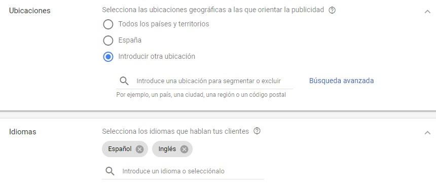 idiomas campaña google adwords