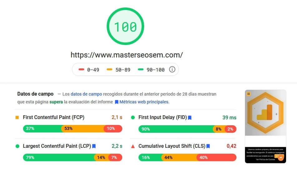 metricas web principales pagespeed insights