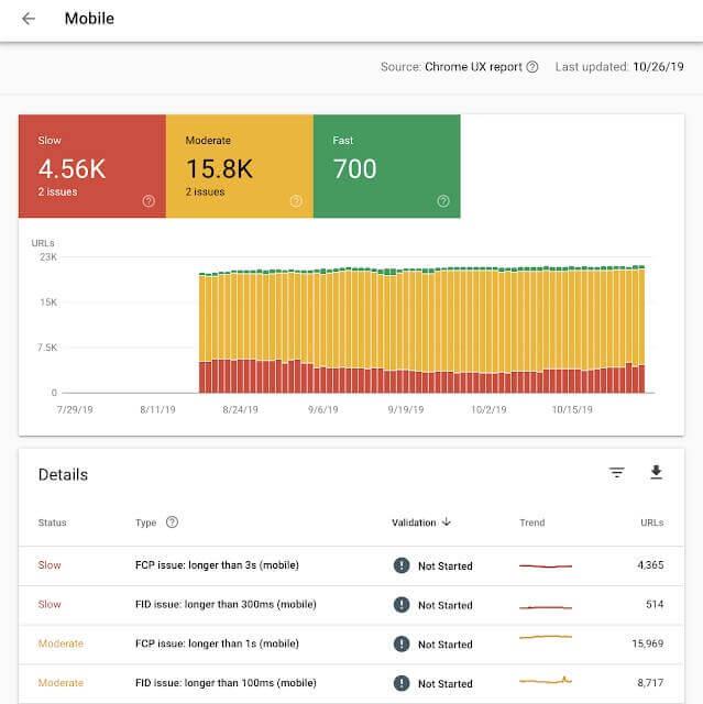 nuevo informe velocidad search console moviles