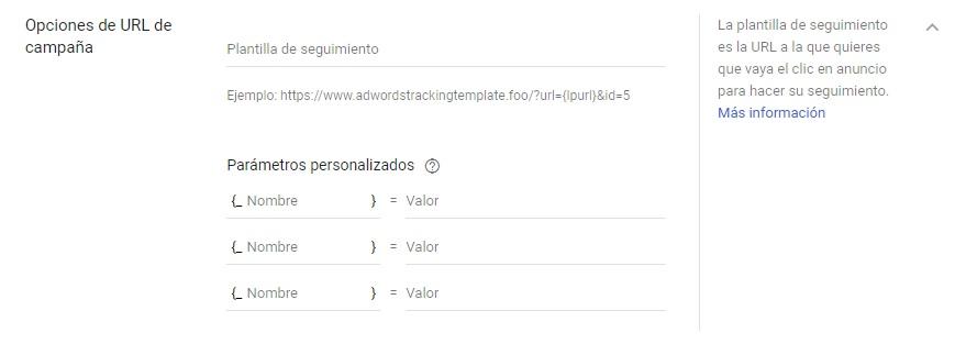 opciones url campaña google adwords