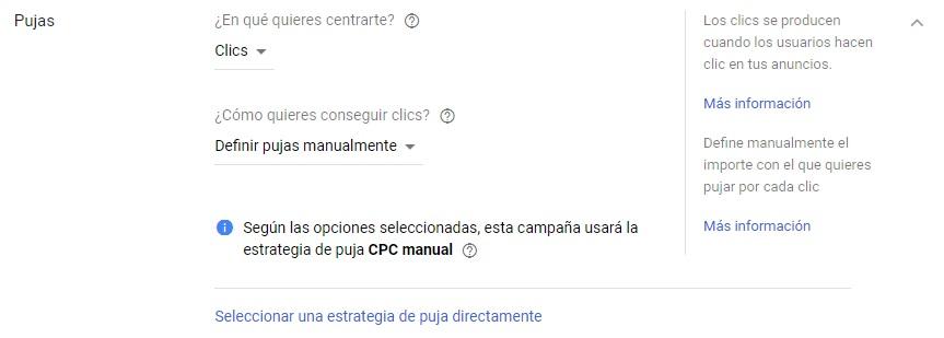 pujas campaña google adwords