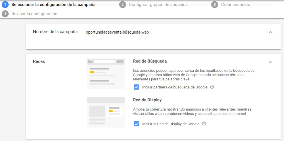 red campaña google adwords