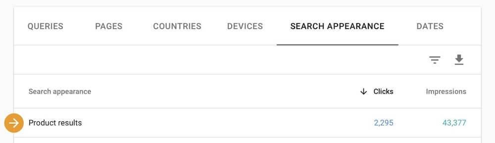 resultados de producto en search console