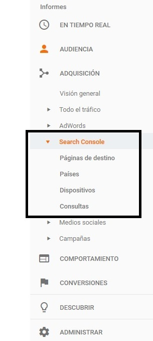 search console en google analytics