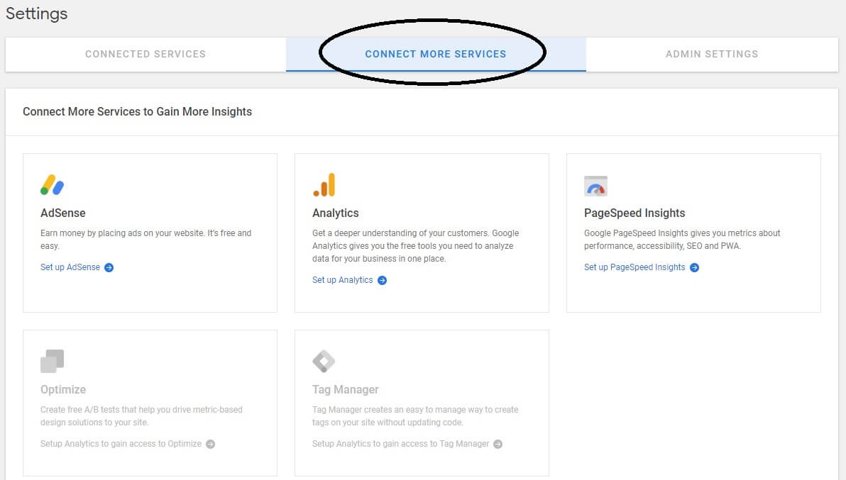 site kit by google connect more services