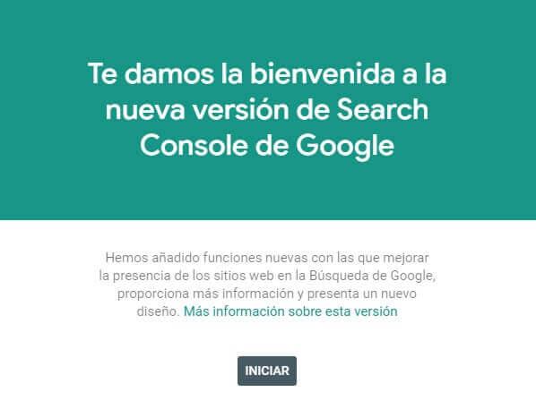 tutorial google search console bienvenida