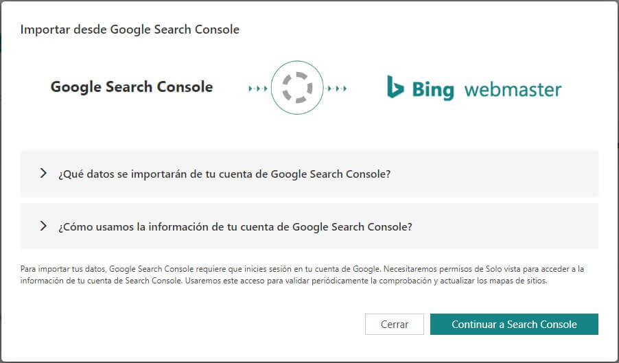 tutorial google search console importar a bing webmasters tools continuar