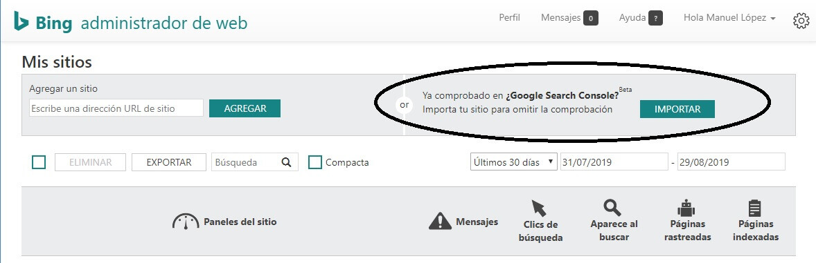tutorial google search console importar a bing webmasters tools