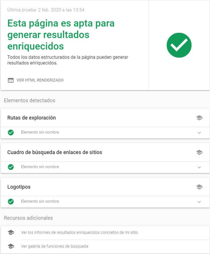 tutorial google search console prueba de resultados enriquecidos apta elementos