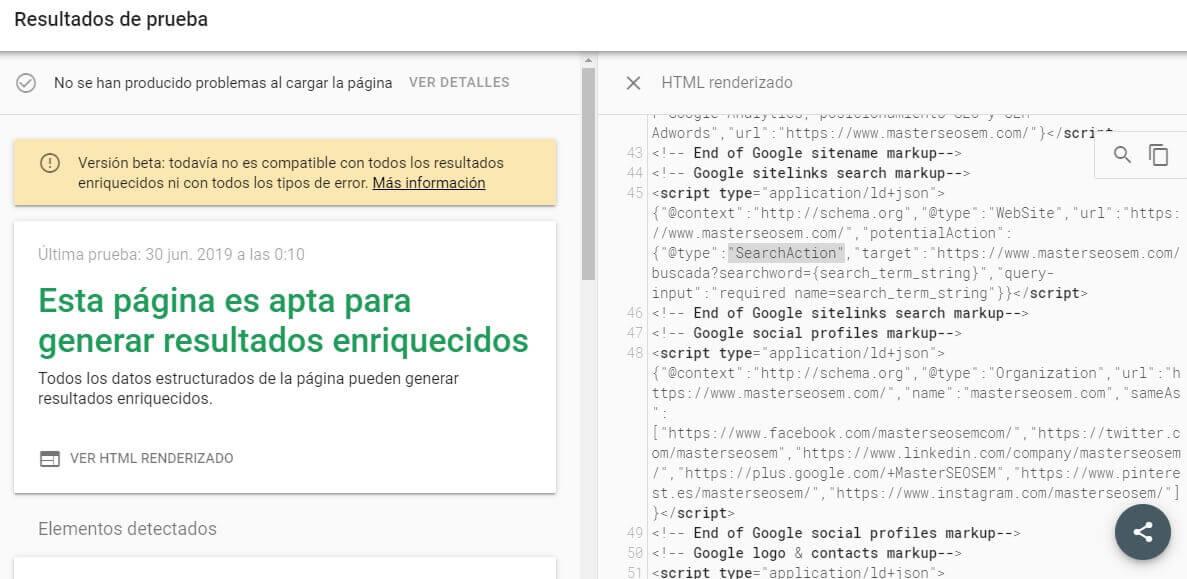 tutorial google search console prueba de resultados enriquecidos apta