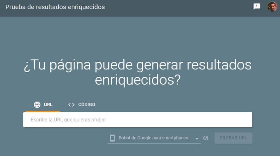tutorial google search console prueba de resultados enriquecidos