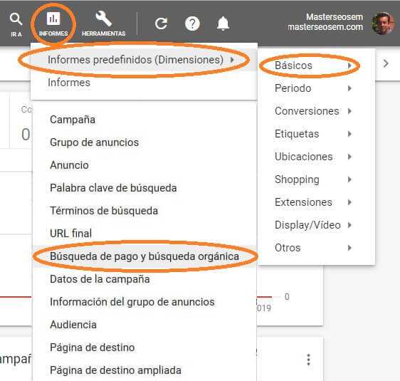 tutorial search console acceder informe google ads búsqueda pago orgánica