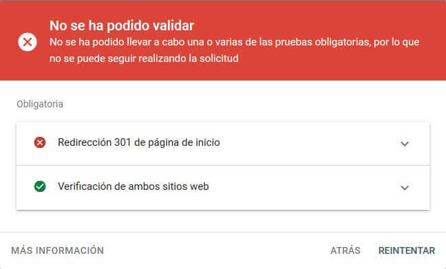 tutorial search console cambio de direccion no valida
