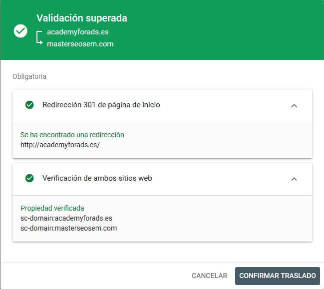 tutorial search console cambio de direccion valida