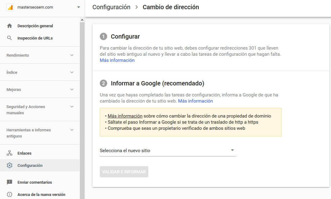 tutorial search console cambio de direccion