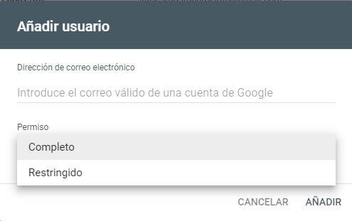 tutorial search console configuracion añadir usuarios y permisos