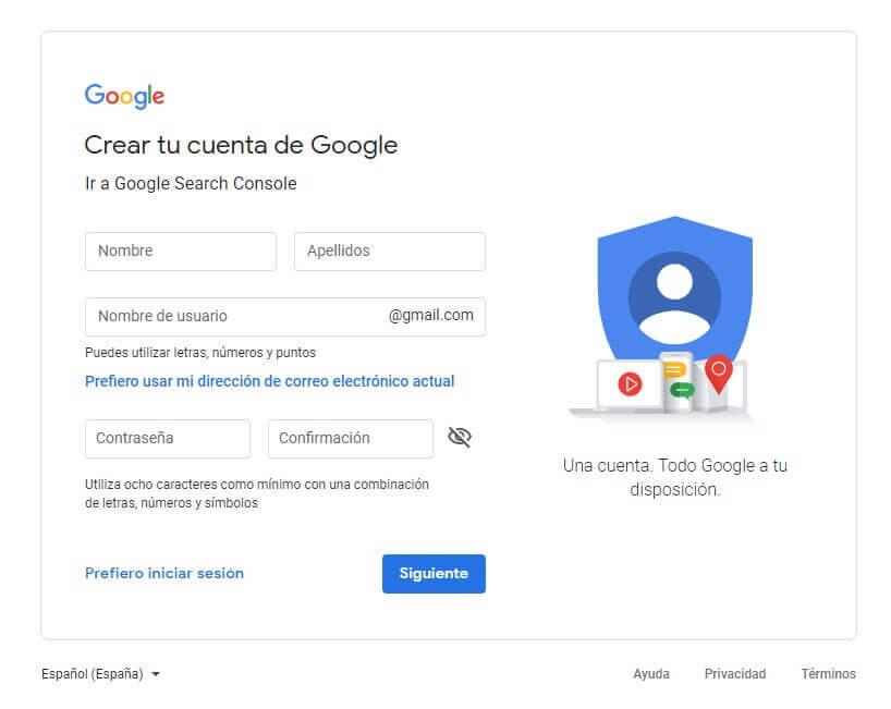 tutorial search console crear cuenta de google