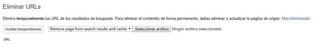 tutorial search console eliminar urls archivo