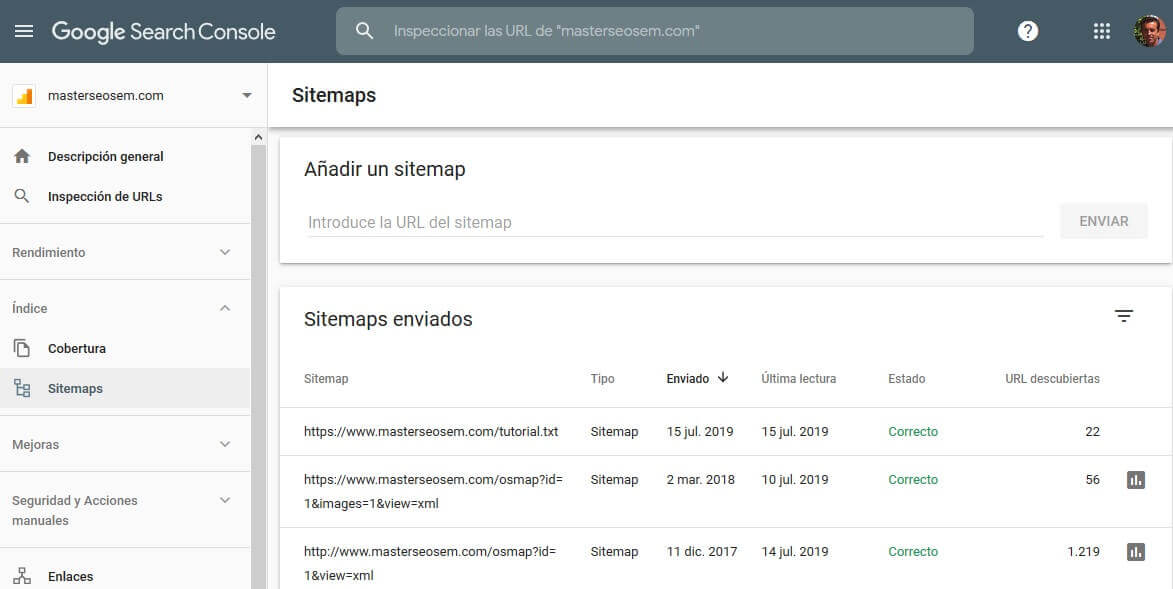 tutorial search console enviar sitemaps
