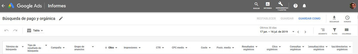 tutorial search console informe google ads búsqueda pago orgánica
