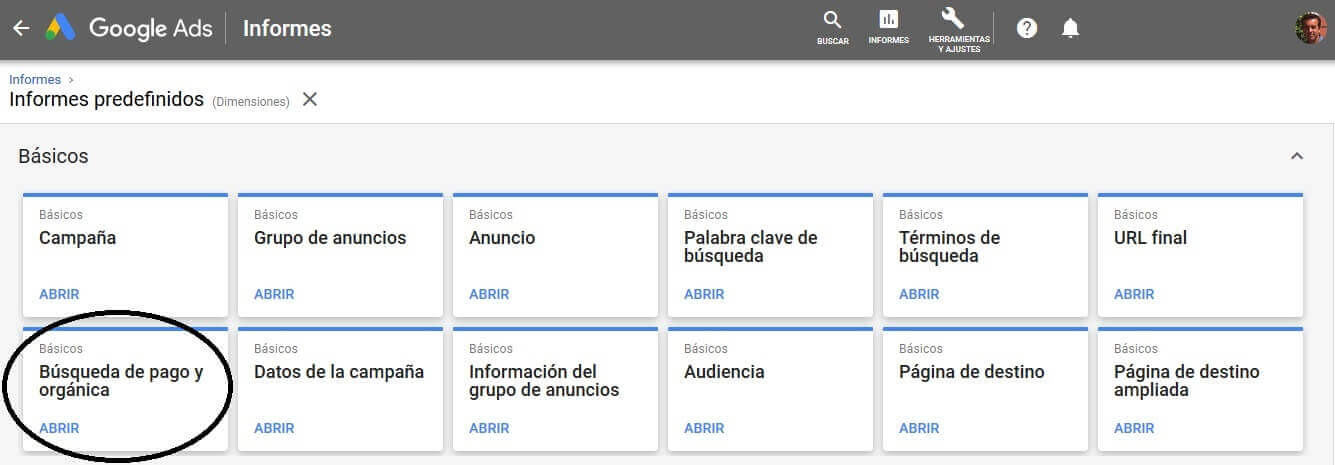 tutorial search console informes google ads