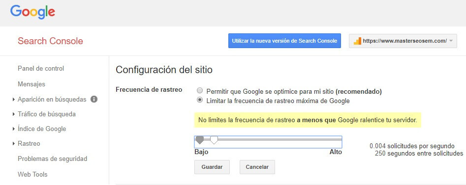 tutorial search console limitar frecuencia rastreo