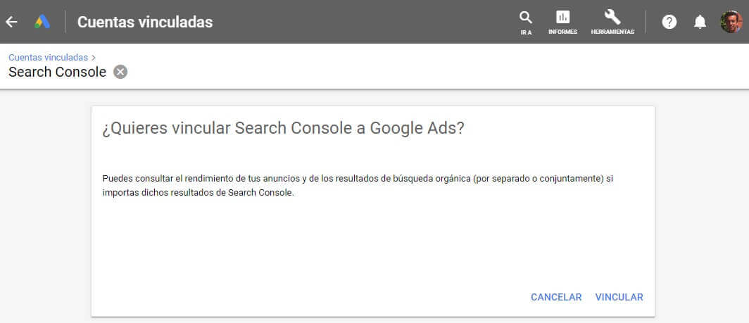 tutorial search console quieres vincular google ads