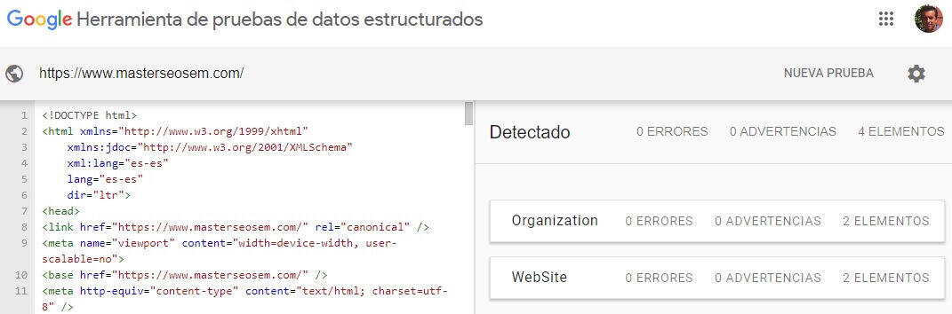 tutorial search console resultado herramienta pruebas datos estructurados