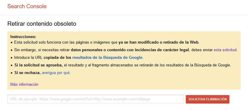 tutorial search console retirar contenido obsoleto