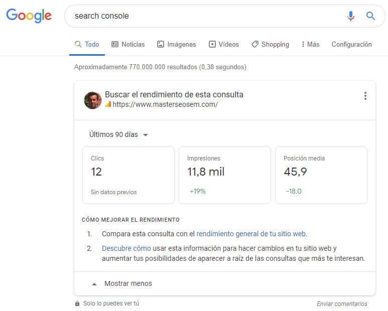 tutorial search console tarjeta de estadísticas serp