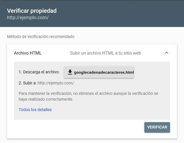 tutorial search console verificar propiedad archivo html