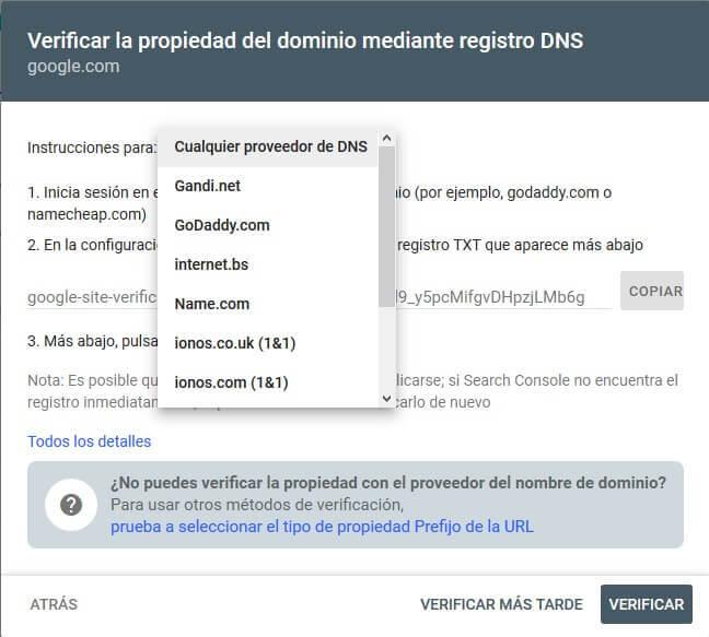 tutorial search console verificar propiedad dominio auto dns